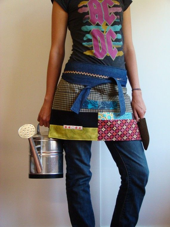 patchwork apron, has possibilities for using up leftover mismatched fabrics
