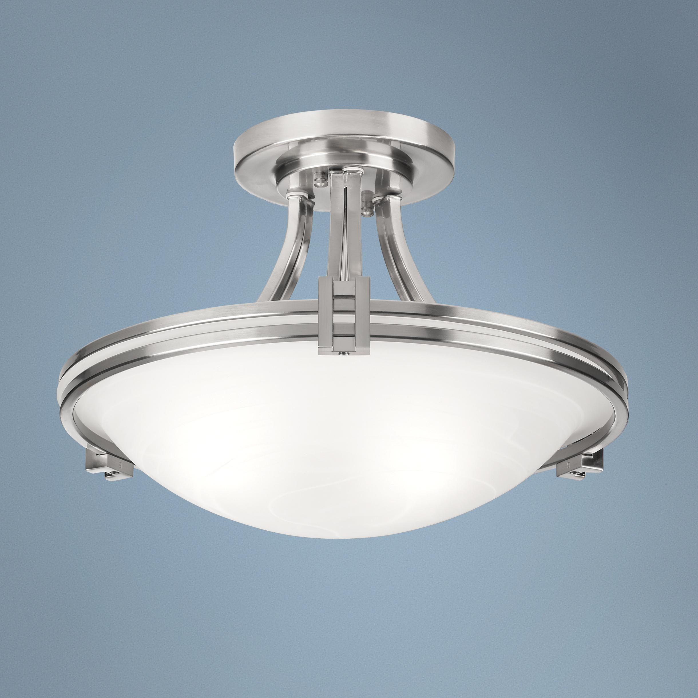 "Possini Euro Deco 16"" Wide Brushed Nickel Ceiling Light"