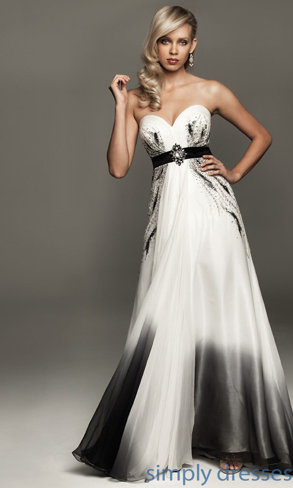 NM-A403 - Madison James Floor-Length Black-and-White Gown | Prom ...