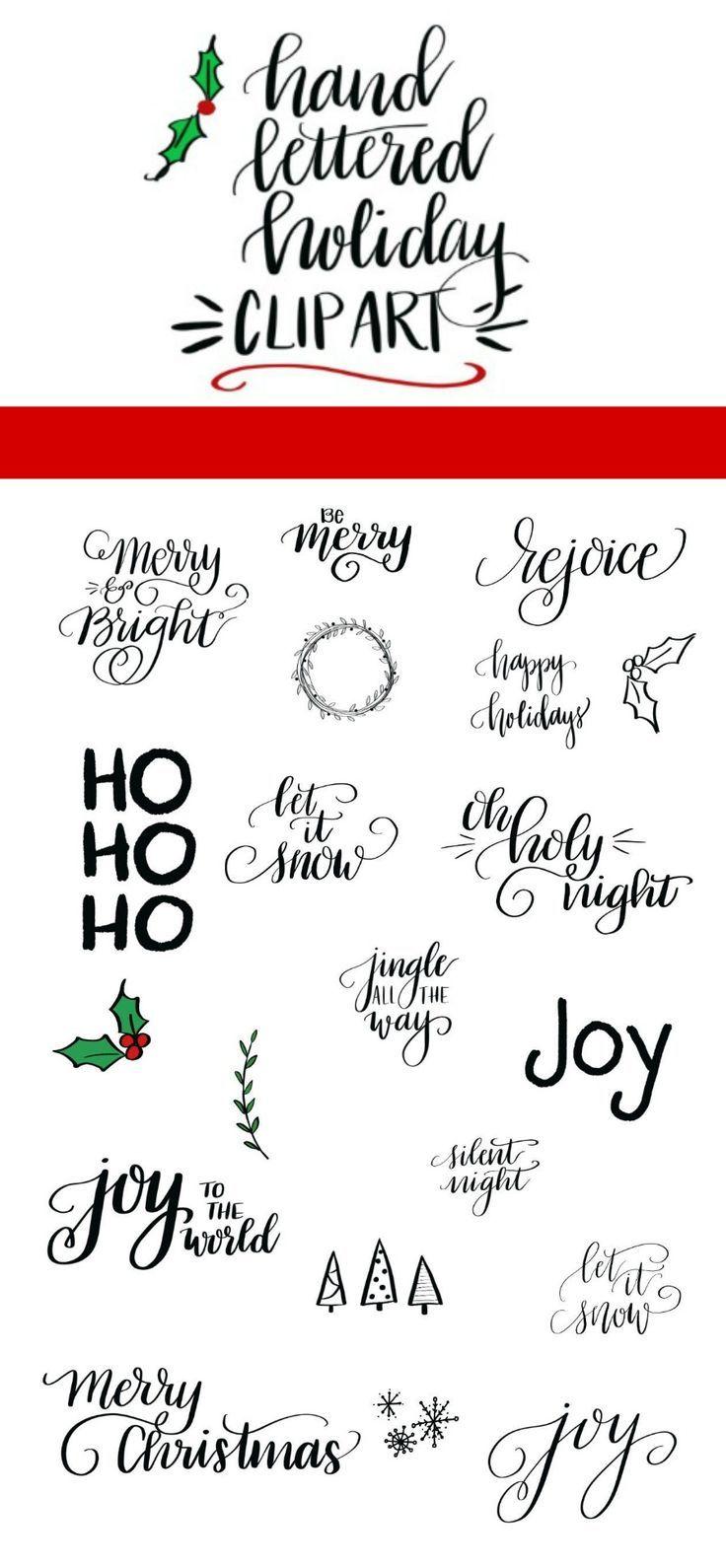 Hand Lettered Holiday Clip Art Release | Lettering | Pinterest ...