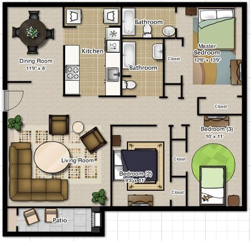 3 Bedroom 2 Bathroom Floor Plan At Pecan Grove Apartments