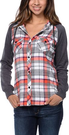5529e20427c Empyre Girls Sycamore Red   Grey Plaid Hooded Flannel Shirt at Zumiez   PDP