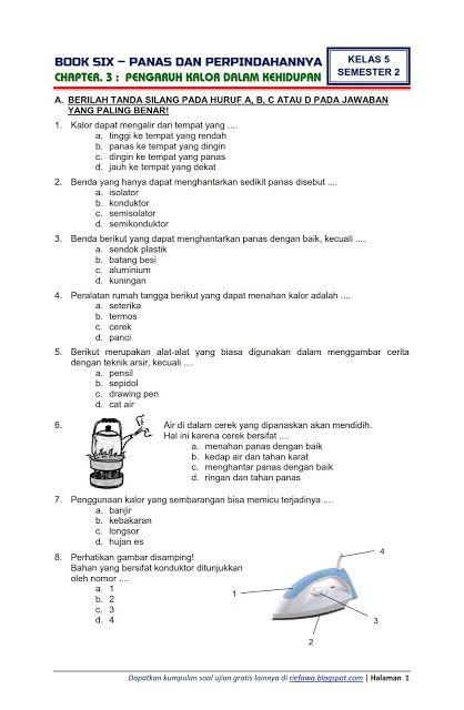 Download Soal Tematik Kelas 5 Tema 6 Panas Dan Perpindahannya Semester 2 Edisi Terbaru Tempat Download Soal Ujian Berkelas Belajar Ipa