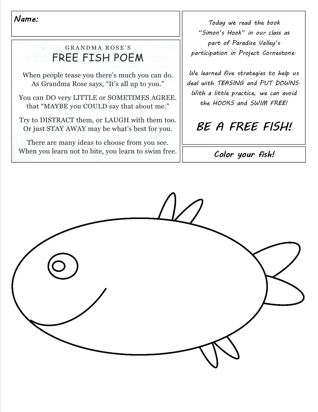 Simon S Hook Free Fish Poem Coloring Page School Counseling