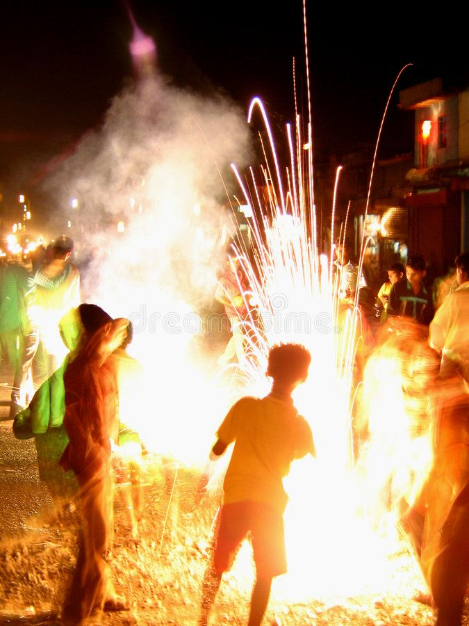 Deepawali Children Play With Firecrackers In India In The