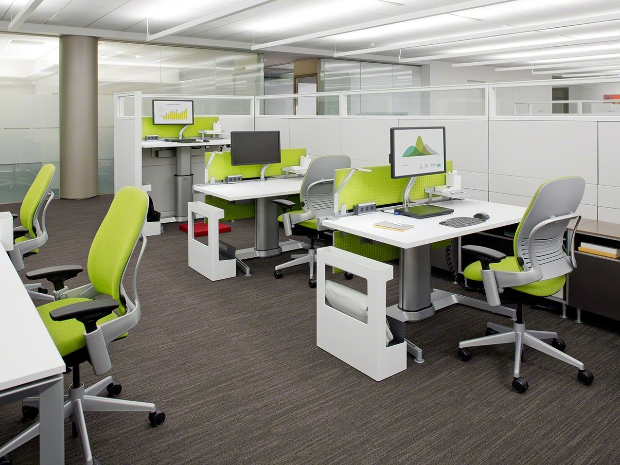 Open plan workstations with height adjustable desks and Open office furniture