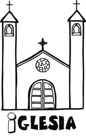 Dibujo infantil de una iglesia para pintar | IMAGENES VARIAS | Pinterest