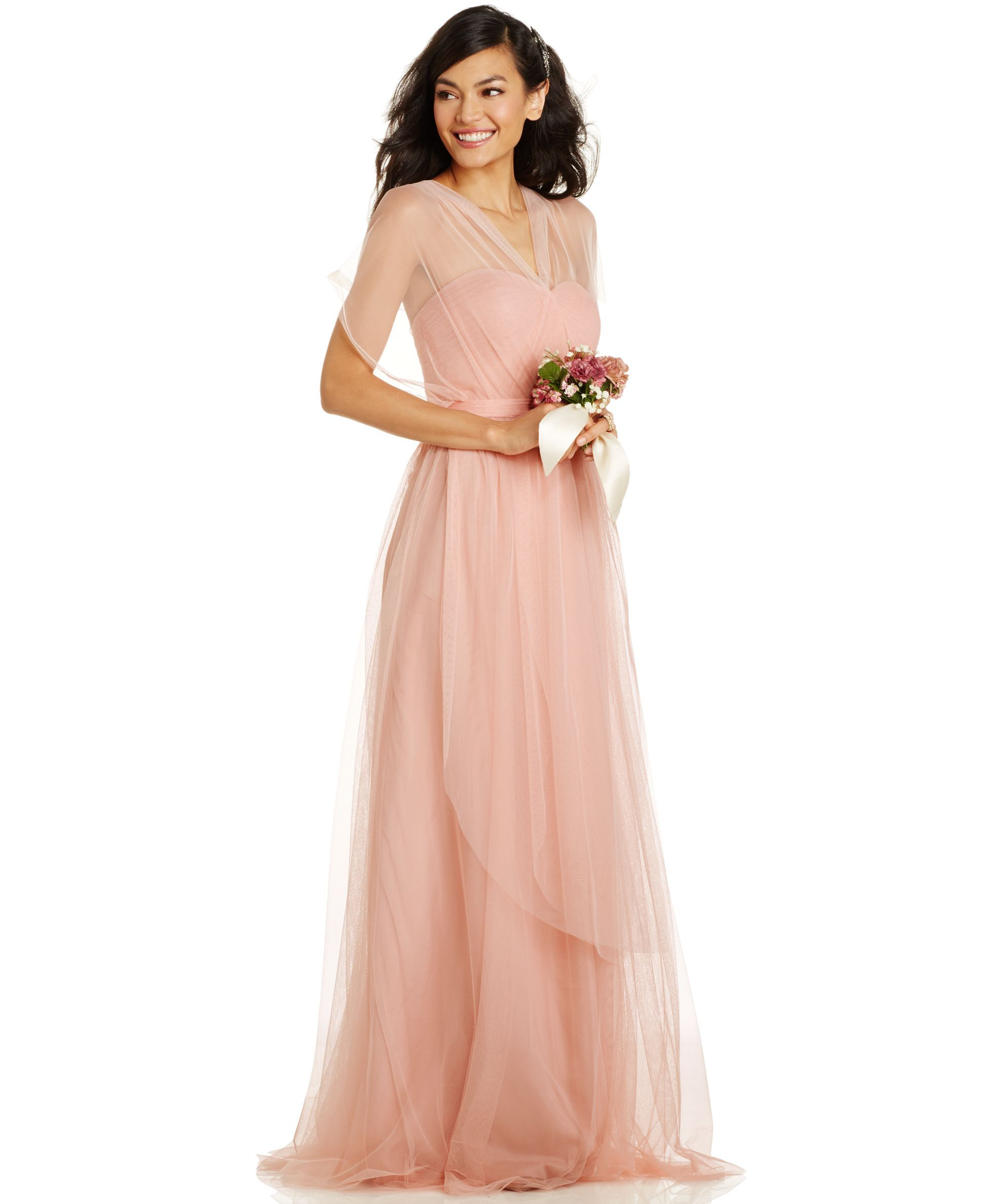 02f9fccae75af Bridesmaids: Adrianna Papell Pleated Strapless Tulle Gown in Mint. Love the  idea of a convertible dress - then everyone gets what they want.