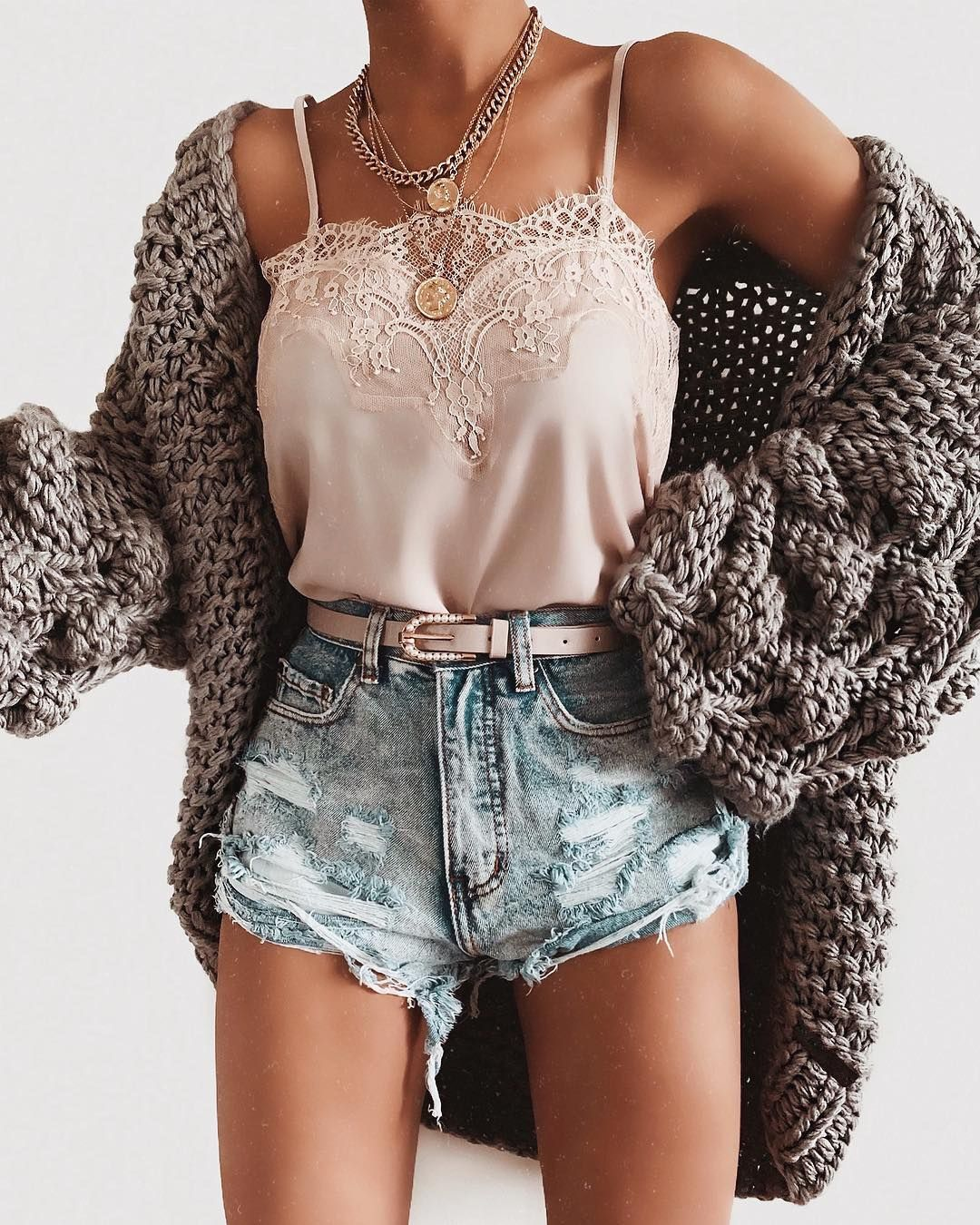 """Talia on Instagram: """"The cutest shorts + necklace via @oohlaluxe #oohlaluxe Shorts: Malibu Distressed Shorts Necklace: Camila Coin Necklace"""""""