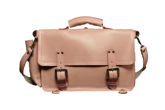 The Caledonian  Leather Satchel in Baby Pink by MMLeatherWorkshop