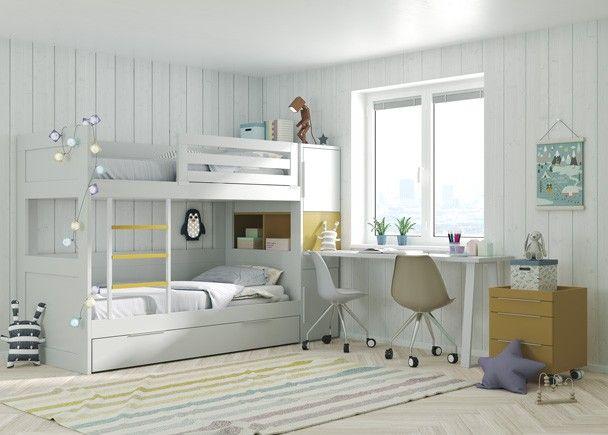 Dormitorio Infantil Con Litera De 3 Camas Armario Y Zona De Estudio
