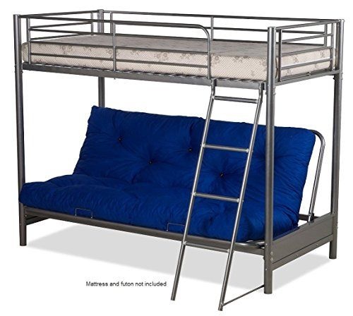 Futon Bunk Bed Frame Only In Silver Metal Finish Futon Bunk Bed
