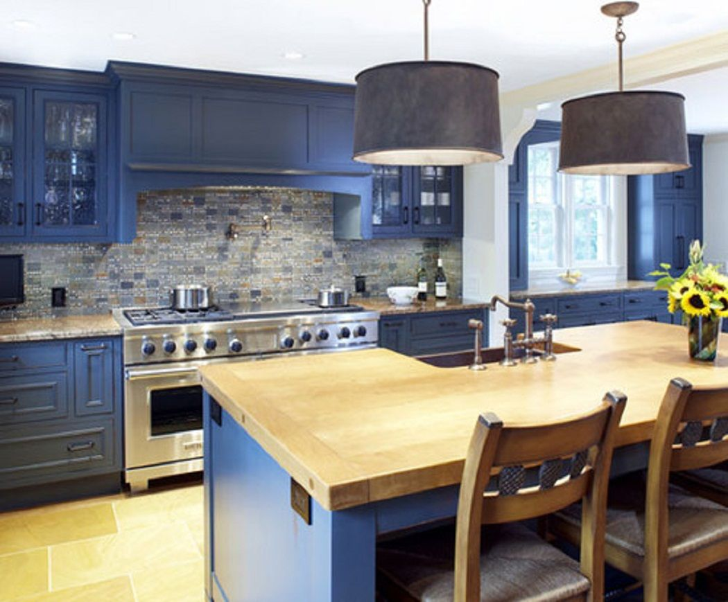 Blue kitchen cabinets with wood countertops google for Grey blue white kitchen
