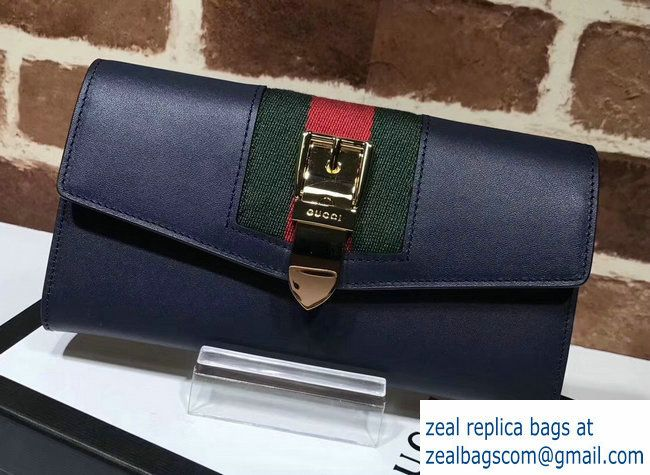 74eee6e9da2 Gucci Web Sylvie Leather Continental Wallet 476084 Blue 2017 ...