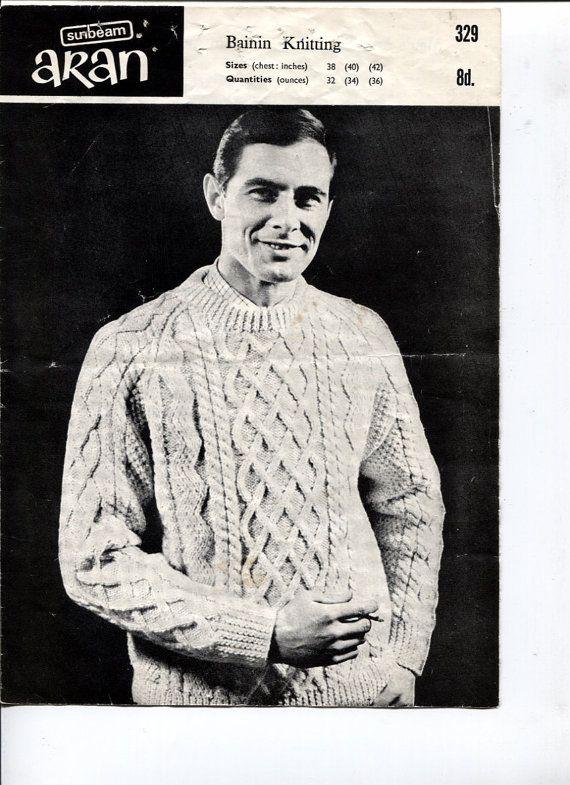 Aran Sweater for Men Knitting Pattern Bainin by OnceUponAnHeirloom ...