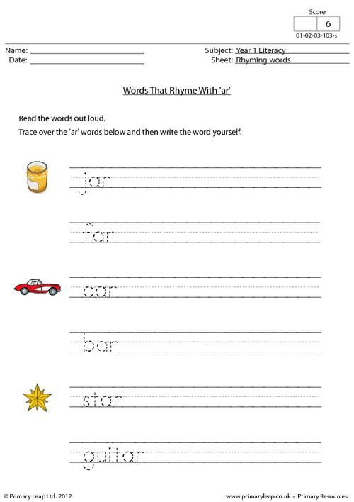 This Year 1 Worksheet Focuses On Words That End In Ar Children