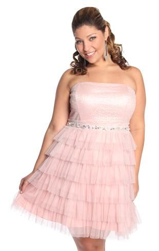 Plus Size Strapless Mesh Sequin Prom Dress with Cupcake Skirt ...