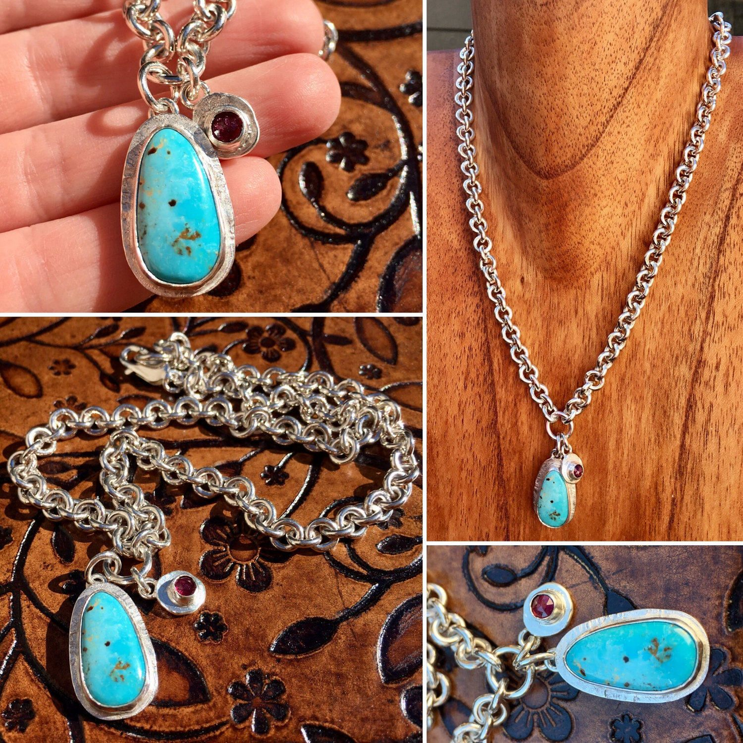 "17"" Handmade Soldered Sterling Silver Chunky Round Link Chain Necklace with Nevada Turquoise"