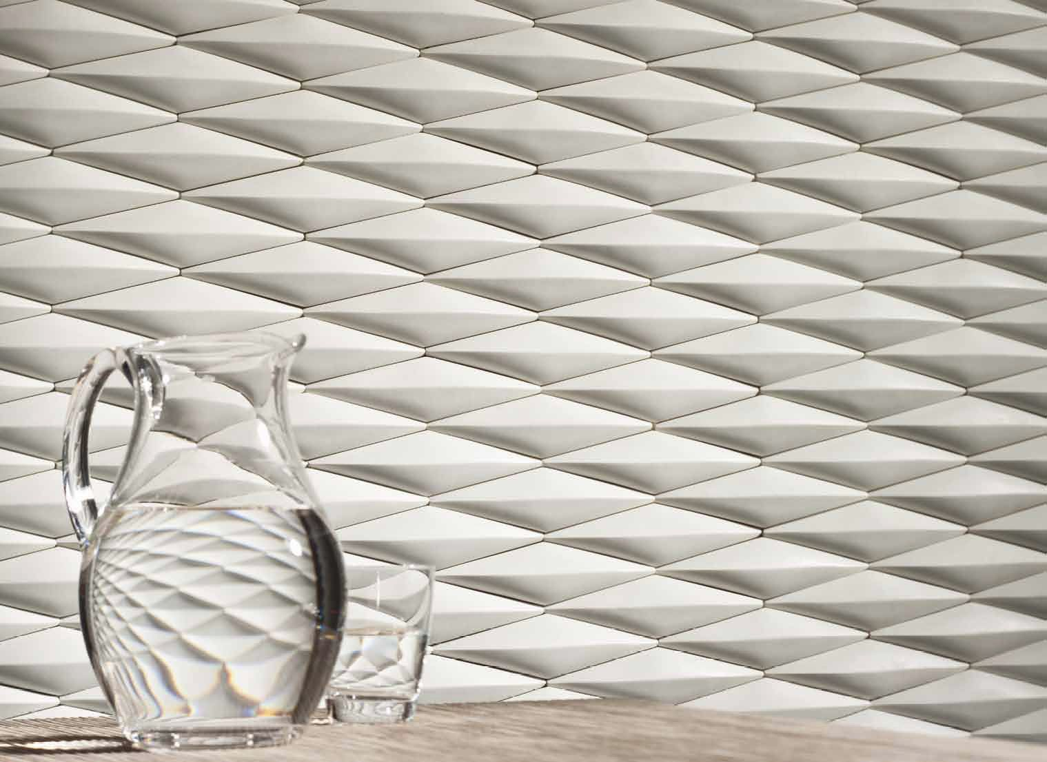 As Dramatic As It Is Unique This Three Dimensional Tile Is Designed To Evoke A Fun And Sophisticated Atmosphere Wall Tiles Design Tile Design