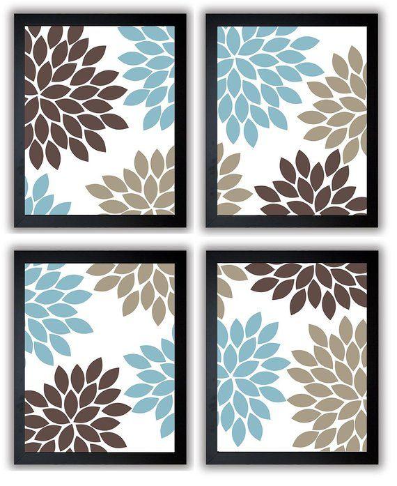 Flower Print Blue Brown Beige Chrysanthemum Flowers Set Of 4