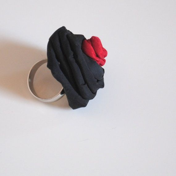 Textile Jewelry Ring / Adjustable Ring / Red by MaterialAtelier