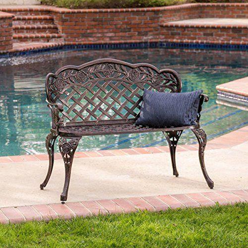 Home Lucia Outdoor Garden Bench Cast Aluminum Construction Antique
