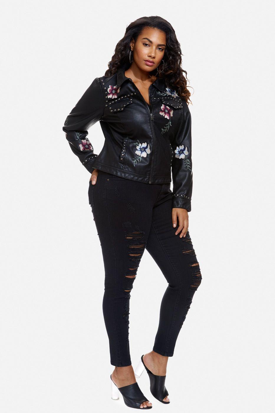 Plus Size Yumi Floral Embroidery Faux Leather Jacket Fashion Fashion To Figure Plus Size Fashion [ 1400 x 933 Pixel ]