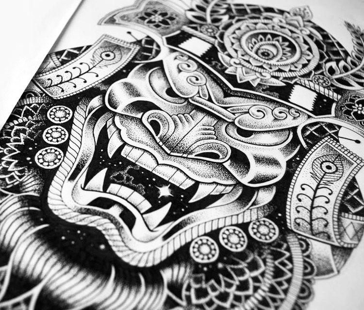 Japanese samurai mask drawing in color