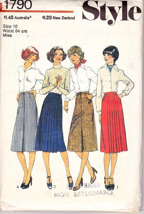 1970s Vintage skirt pattern Style 1790 Waist 25 Hip 34 1/2
