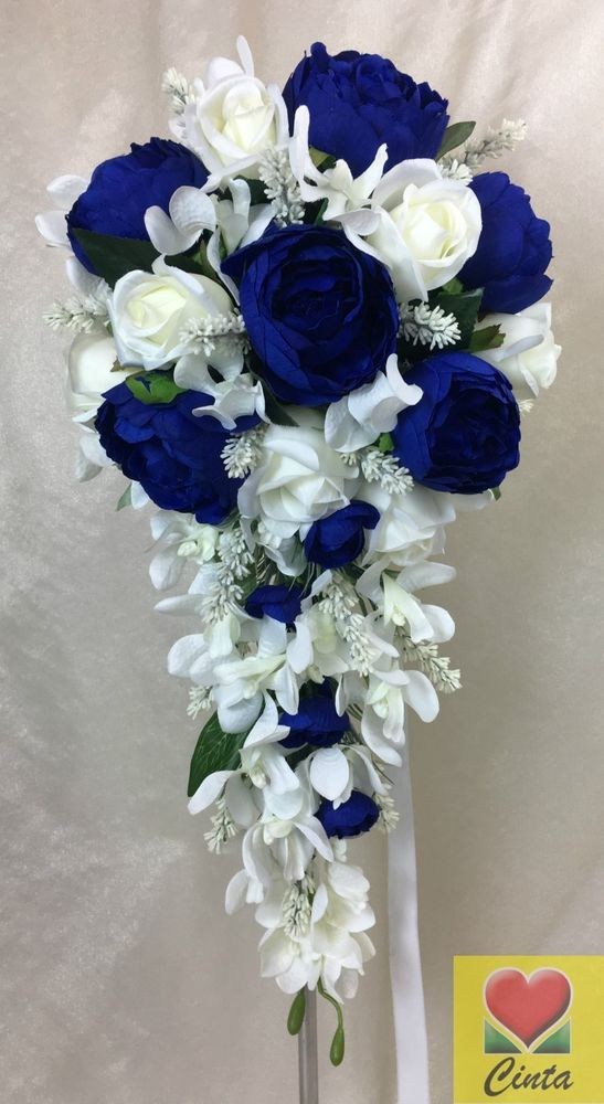 Artificial Flower Dark Blue Peony Cream Roses/Lavender