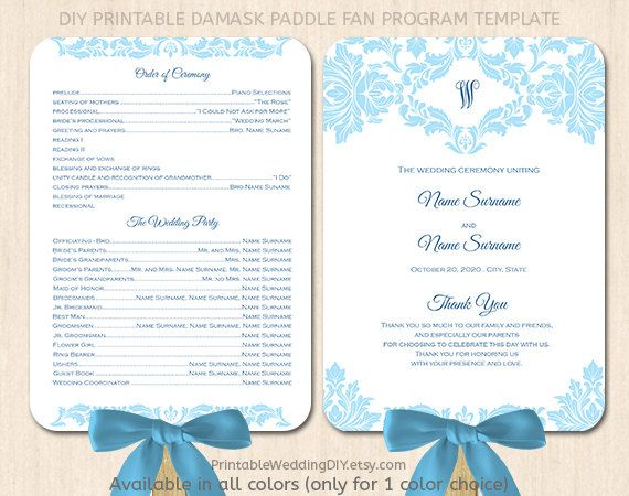Blue Damask Paddle Fan Program Template