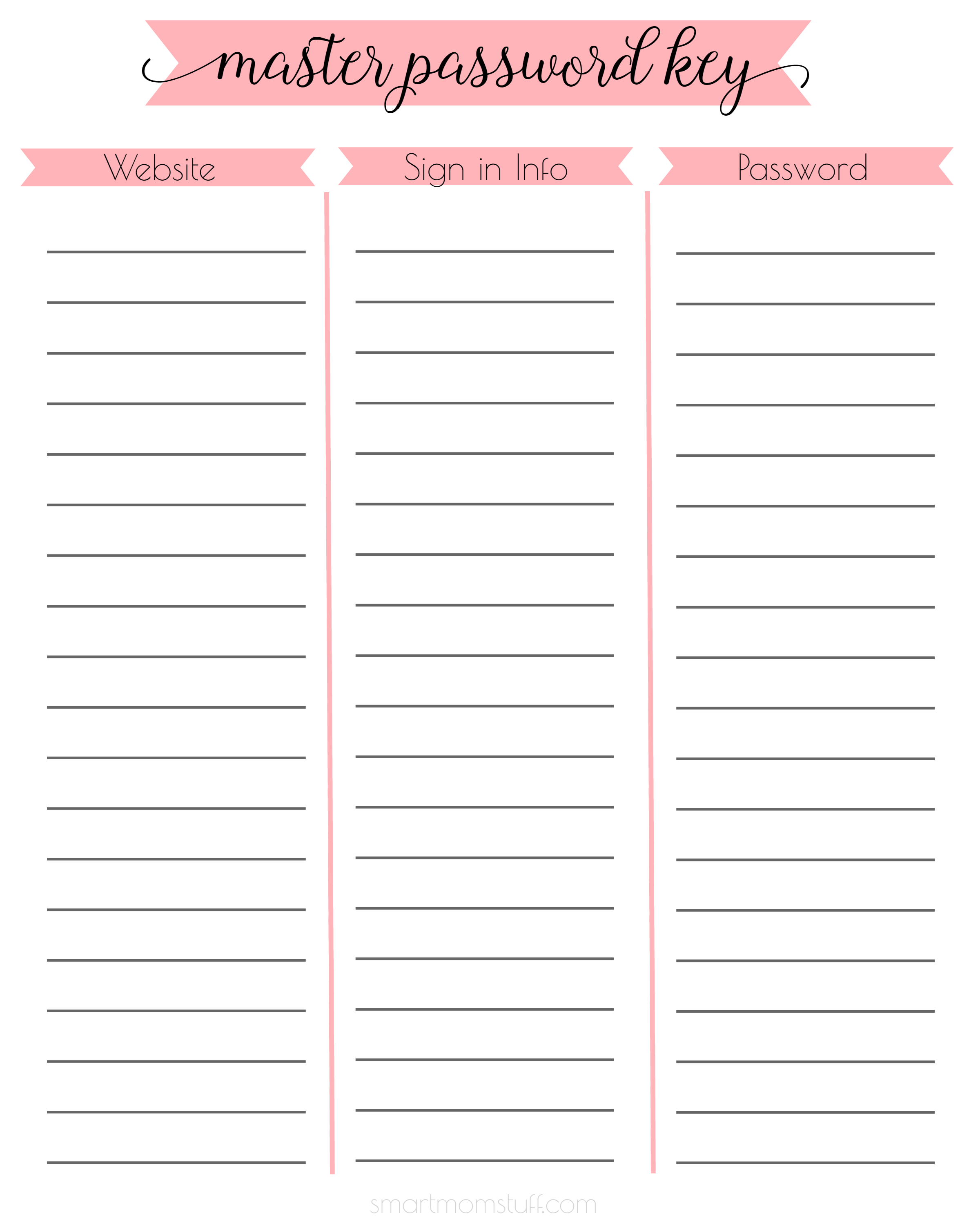 Password Printables That Are Modest