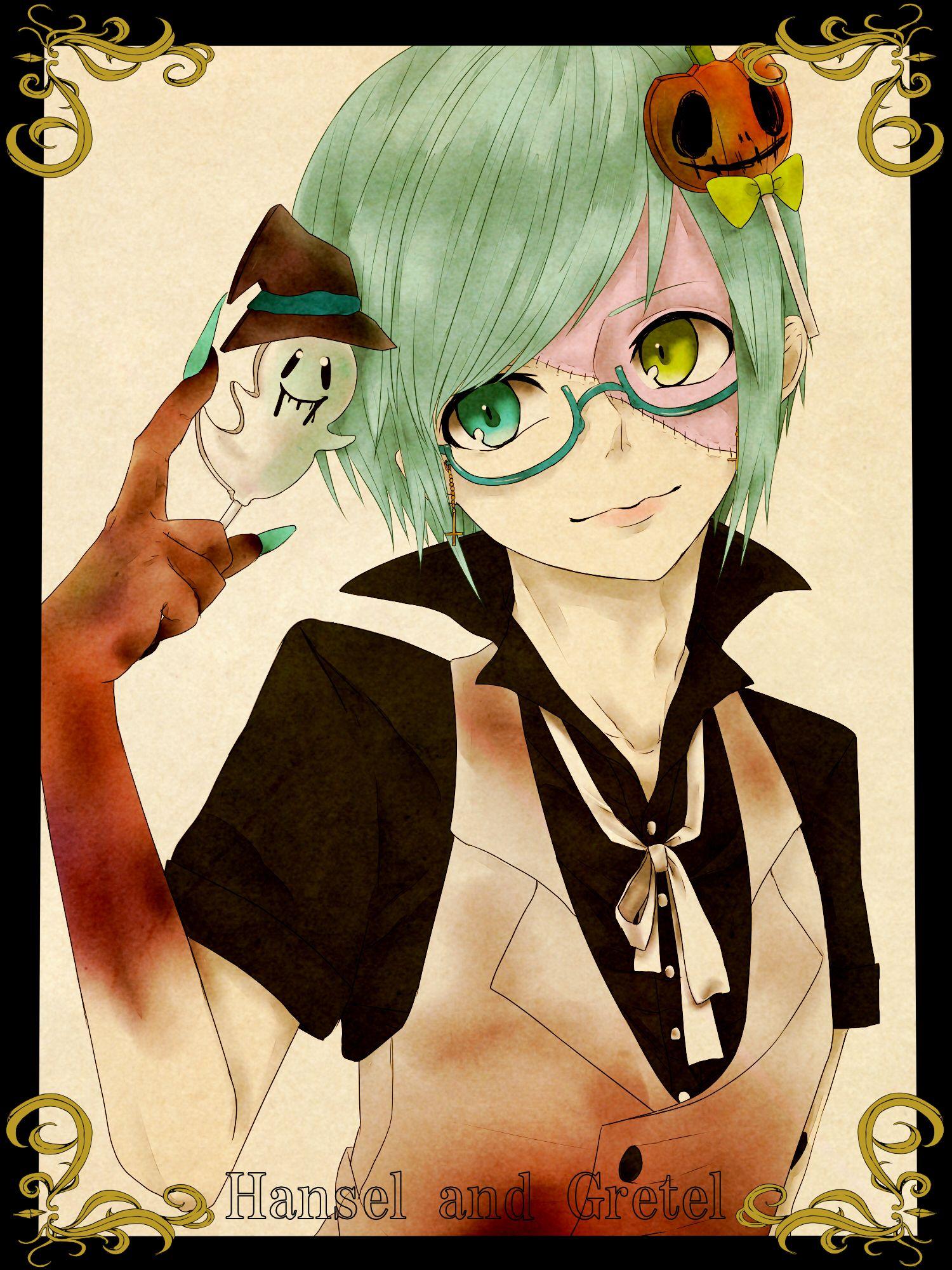 anime heterochromia / odd eyes blue green (Sniffles Happy
