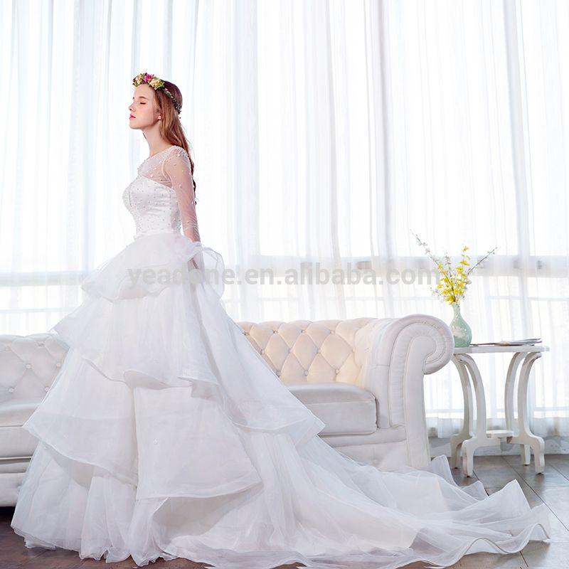 Wholesale Transparent Neckline Beaded Wedding Dresses Long Train ...
