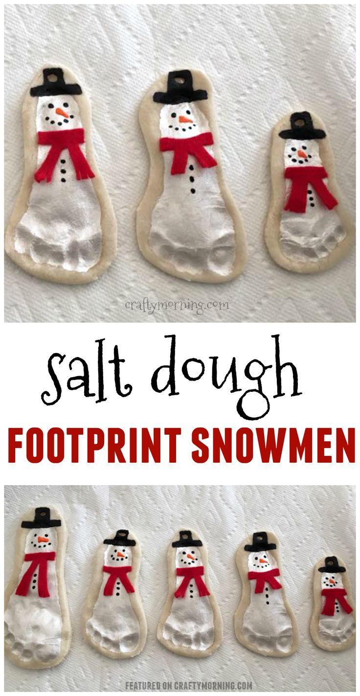 Salt Dough Footprint Snowman Keepsakes - Crafty Morning #holidaycraftschristmas