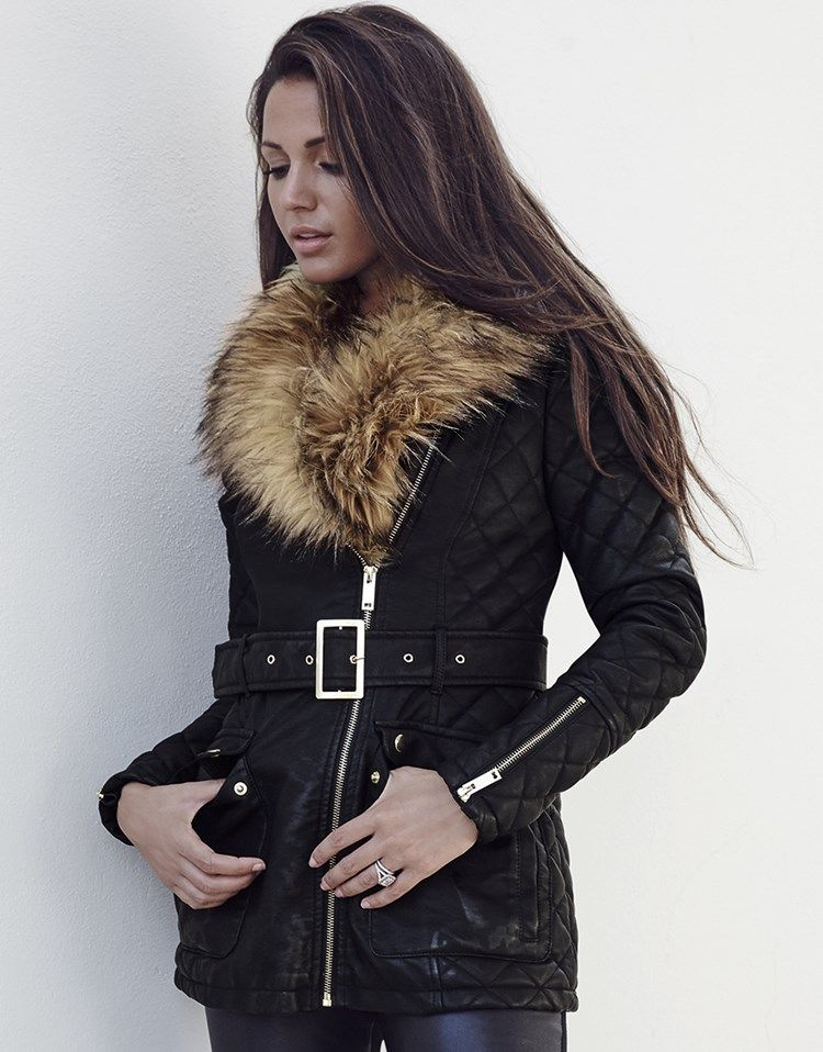 f1b347b23 Lipsy Love Michelle Keegan Faux Fur Collar Leather Look Biker Jacket ...