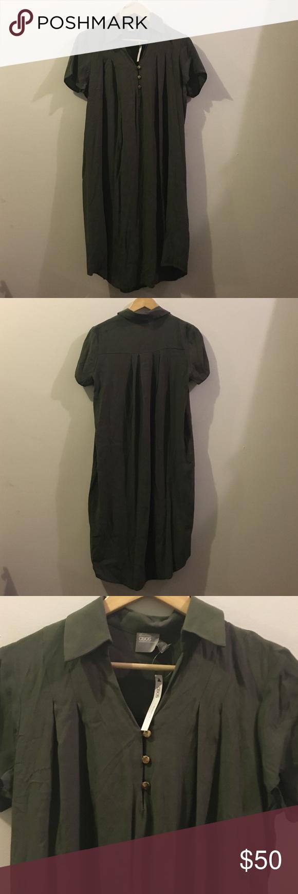 New asos dark green maternity collar shirt dress nwt collared