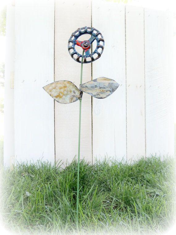 reserved for karens registry rustic valve handle flower garden stake shabby industrial outdoor decor