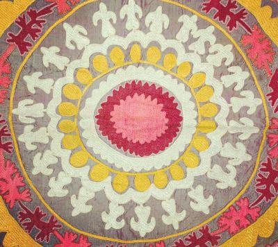 Antique traditional tribal textiles, uzbek Suzani, 1920s, Central Asia. Silk…