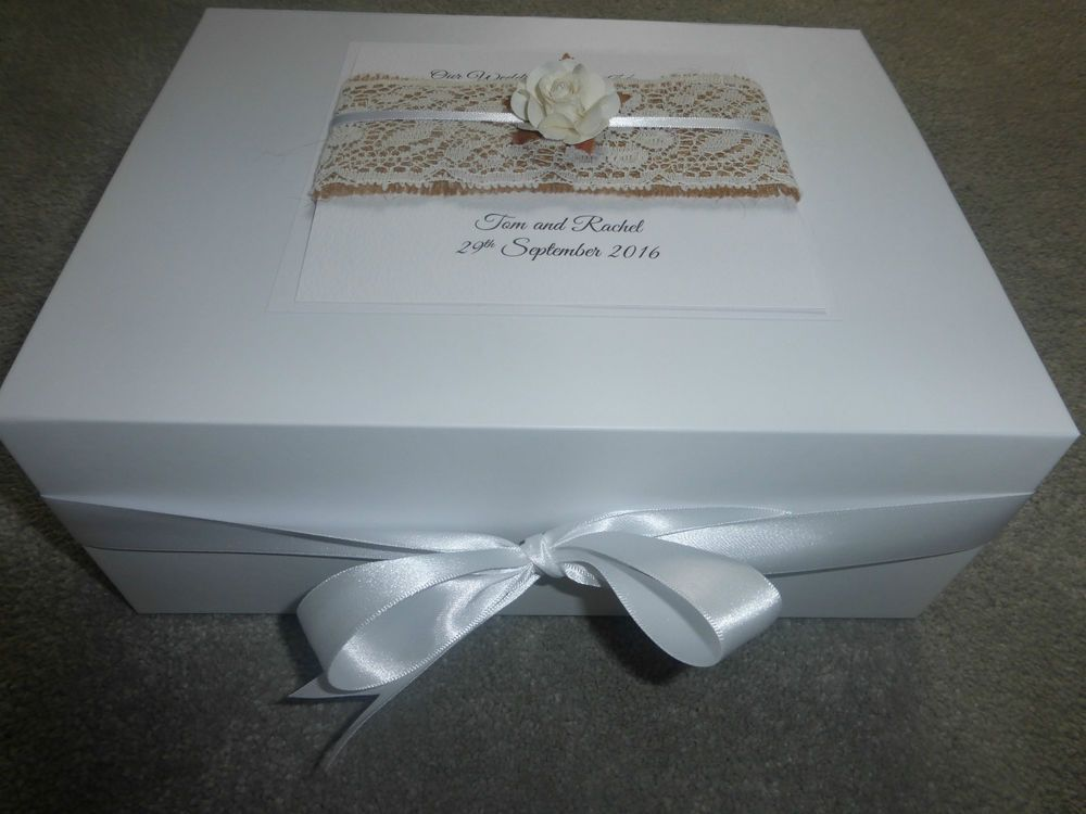 Large Wedding Keepsake Box Personalised Memory Box Ivory Rose Burlap ...