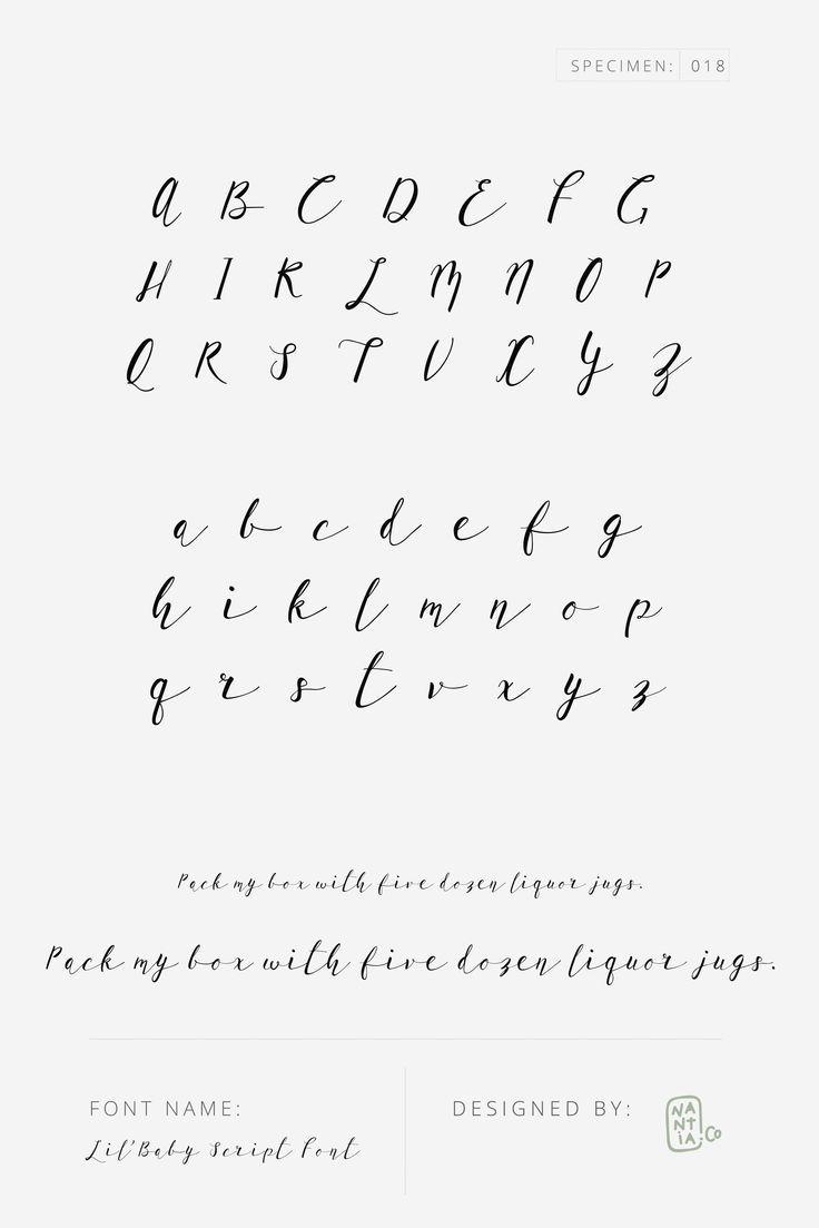 Lil Baby Script Font Specimen 018 Lil Baby Script Font Is A Romantic Modern Calligraphy Typeface W Cursive Fonts Alphabet Lettering Alphabet Lettering Fonts