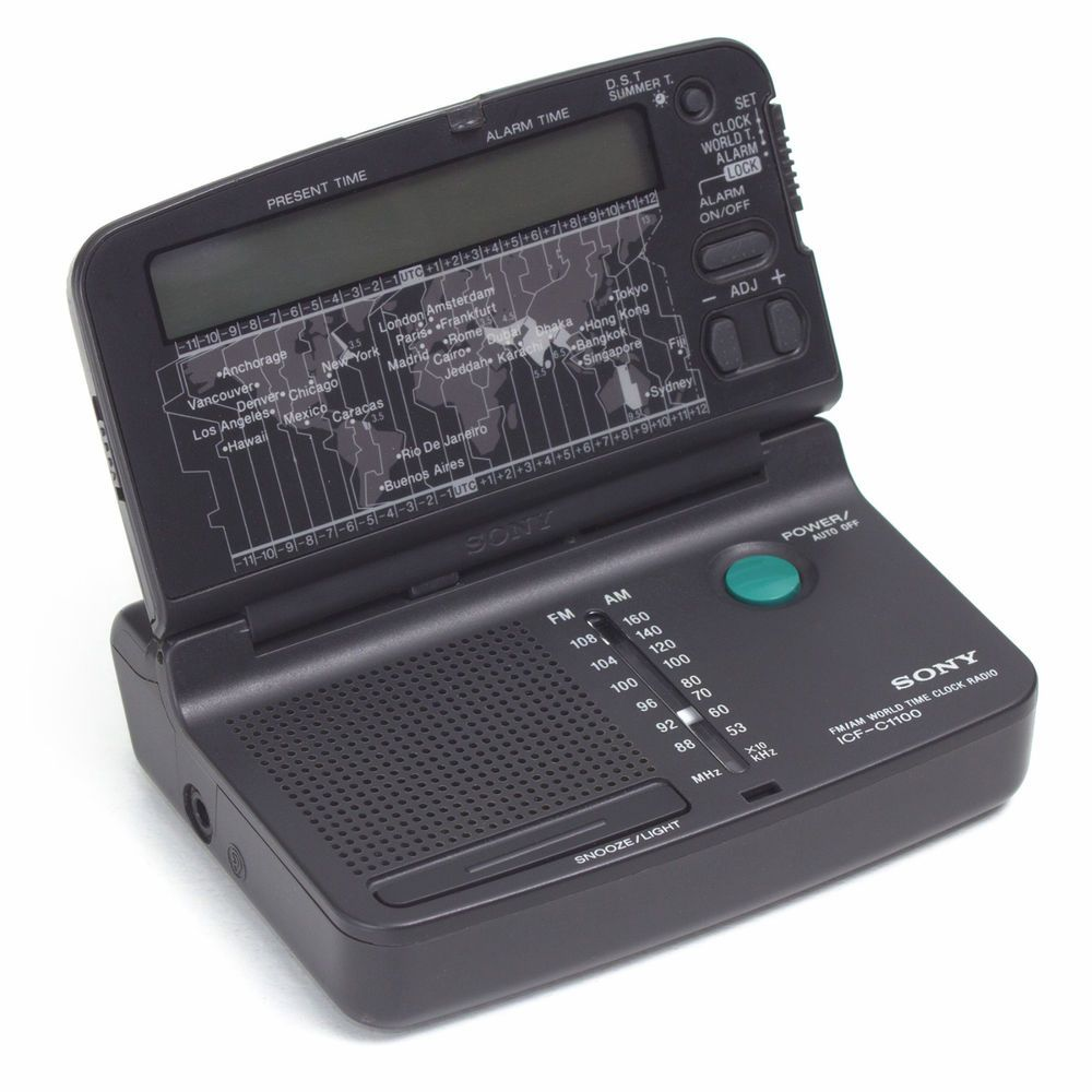Sony Icf C1100 Receiver Travel Pocket World Time Clock Radio Am Fm