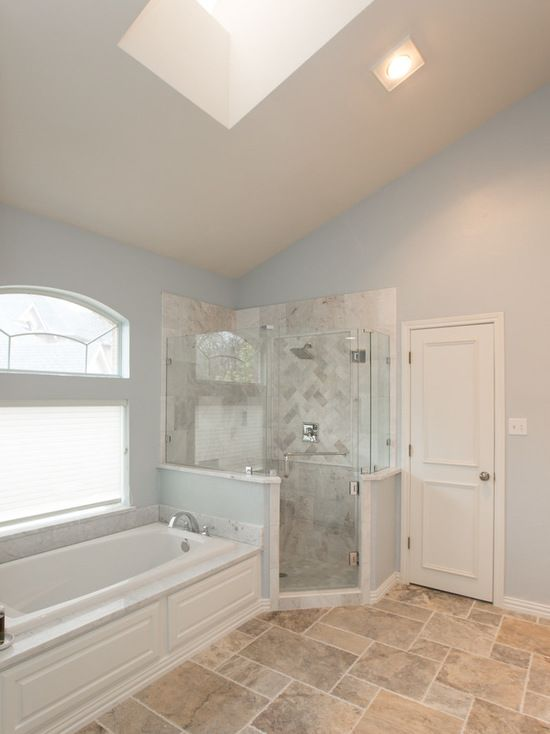 Give A Classic And Elegant Look By Light Blue Wall Paint White - Bathroom remodel flower mound tx