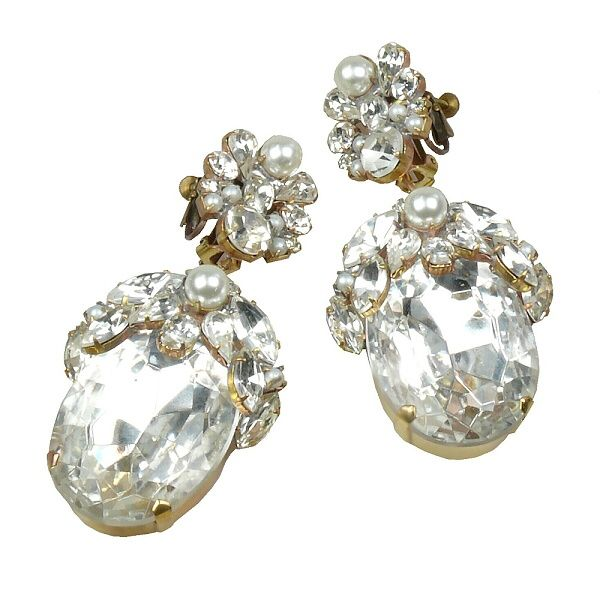 "Extravagant huge rhinestone earrings, combination of amazing rhinestones and Czech glass beads, length 3.90""    . Price: $39.90"