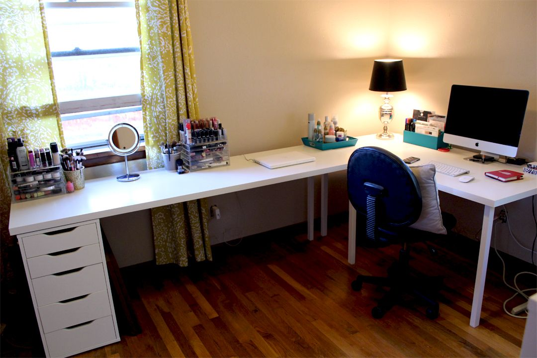 Ikea Desks Office Makeover Part One Kelsey Smith Ikea Office Desk Ikea Home Office Diy Corner Desk