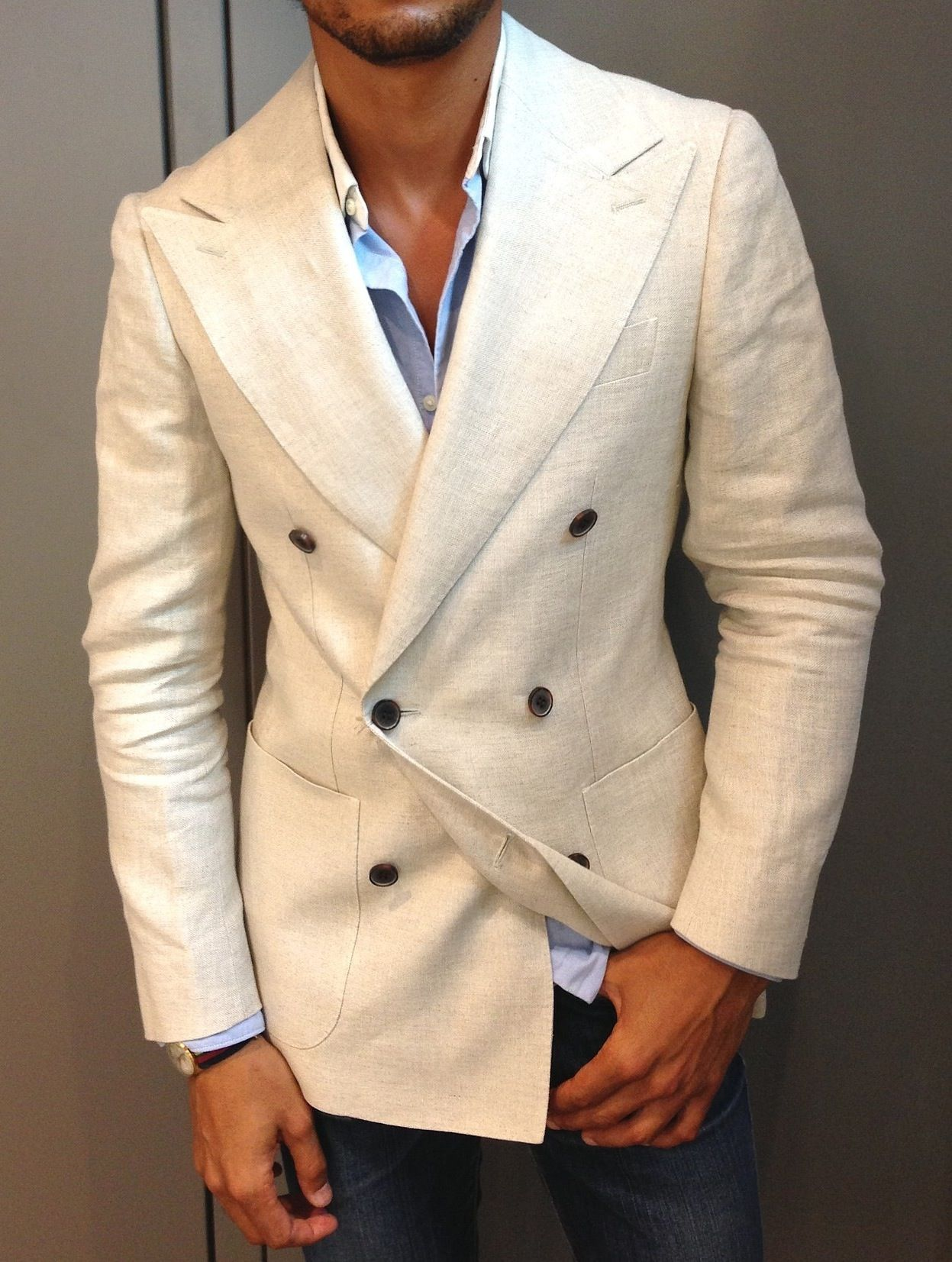 louisnicolasdarbon: Today I'm Wearing Double breasted linen blazer ...