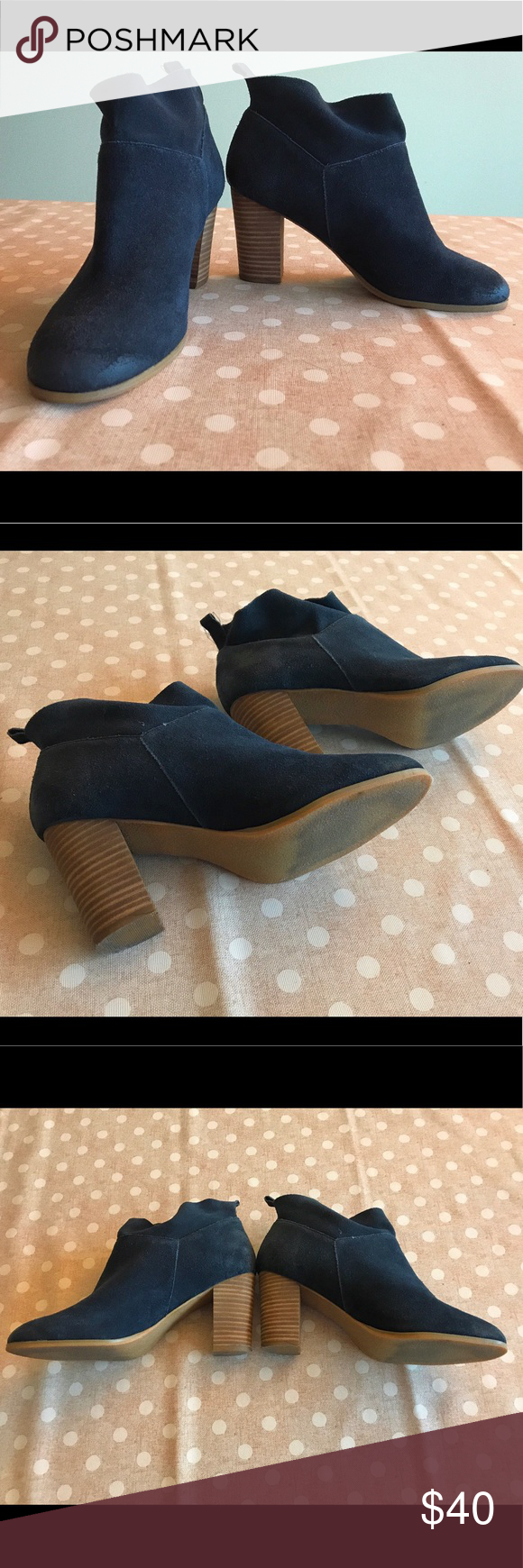 Dsw Women Suede Ankle Boots Dark Blue Women 6 5 Women Size 6 5 Dark Blue Heel Height 8 5cm Purchased From Dsw Only Worn Boots Suede Ankle Boots Dsw Shoes