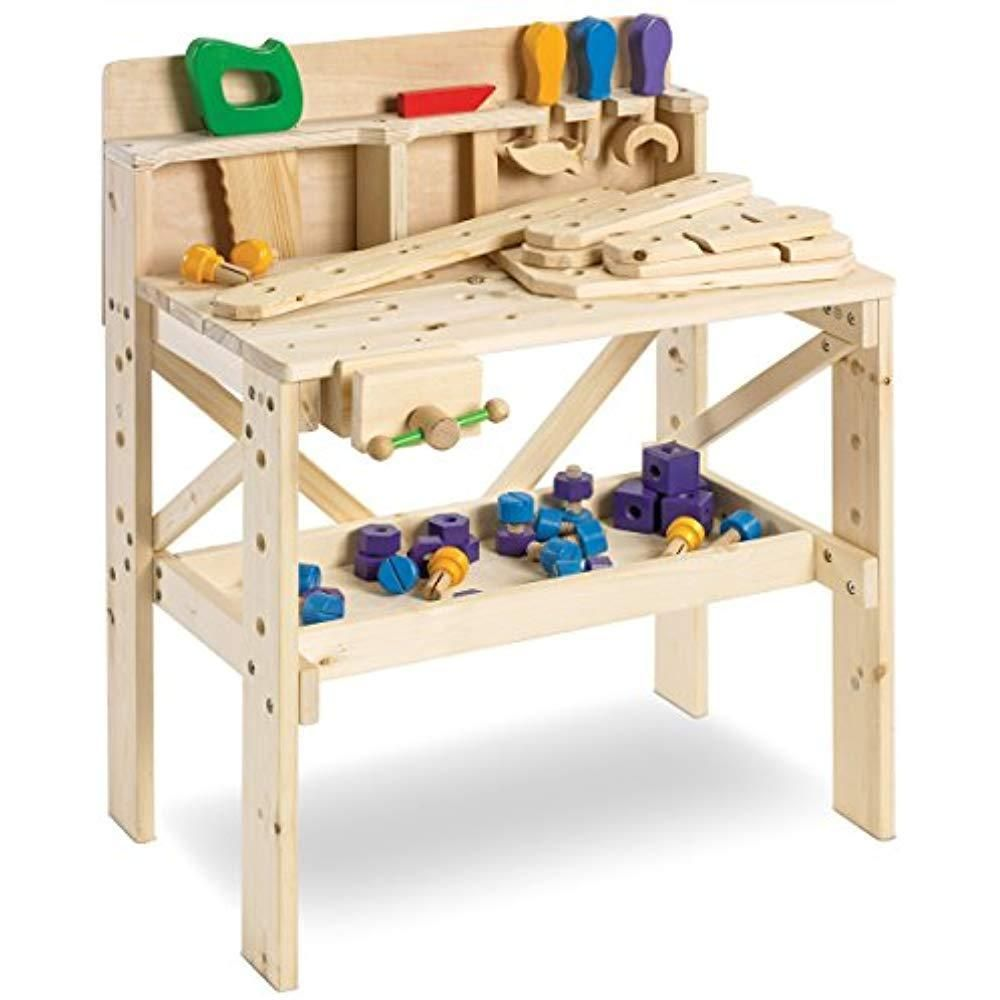 Grownup Toys 64 Piece Solid Wood Workbench Crafted W Solid Durable And Tool Wooden Work Bench Kids Wood Wooden Toys