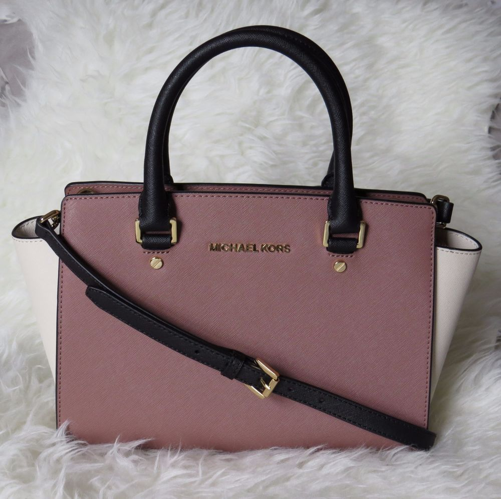 f34b371b3203 Michael Kors Medium Selma Dusty Rose Black Ecru Colorblock Satchel  298  EUC!  MichaelKors  Satchel