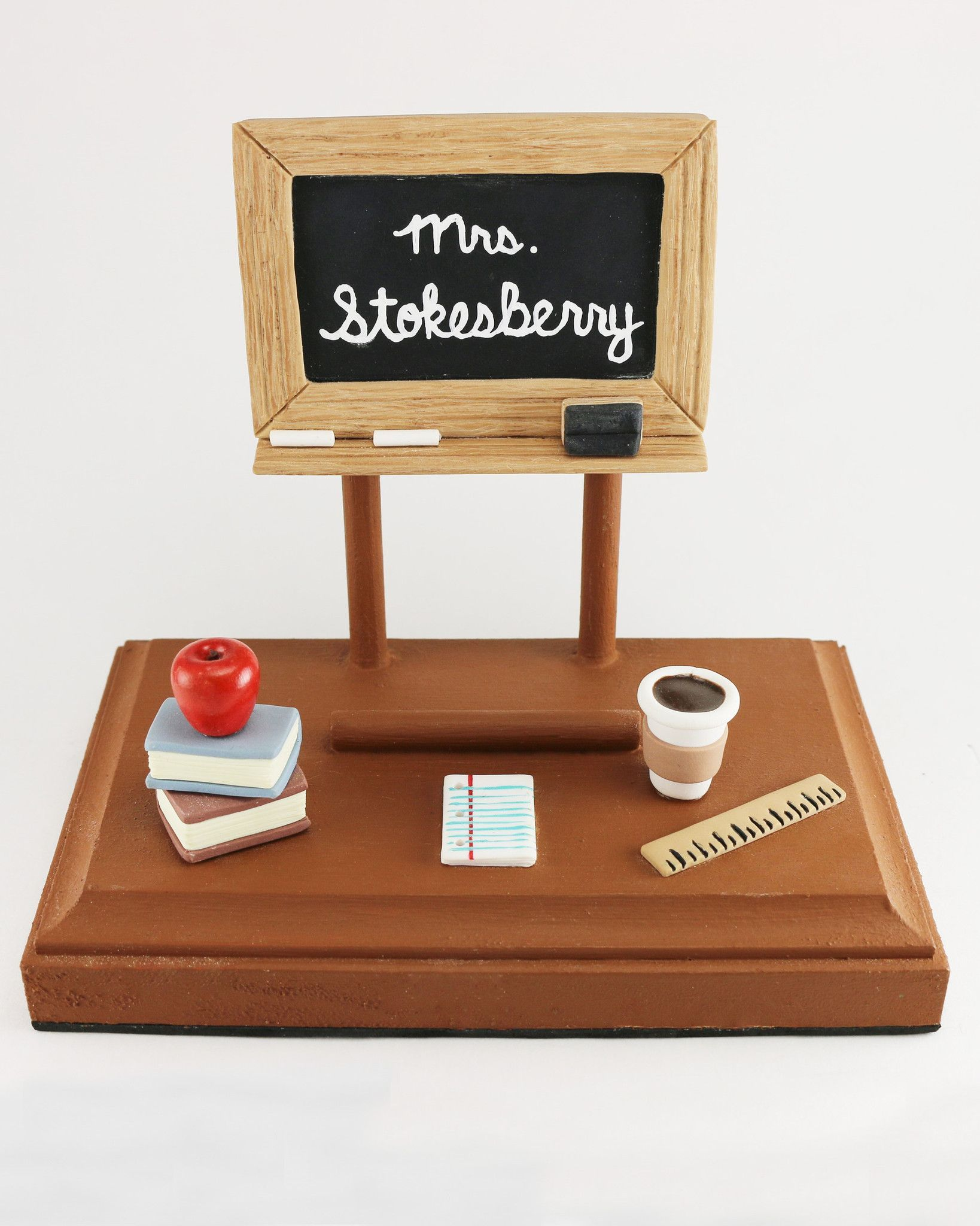 Personalized Teacher Business Card Holder Polymer Clay Wooden
